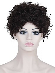 Heat Resistant Cheap Fake Hair Wig Dark Brown Short Afro Curly Synthetic Wigs for Black Women