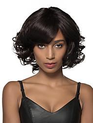 Очаровательный стильный среда естественная волна человеческих волос парик