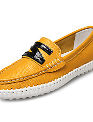 Women's Shoes Nappa Leather Flat Heel Boat /Comfort Loafers Office & Career / Athletic / Dress/Casual Blue/Yellow/White