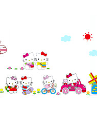 Hello Kitty Girls Room Wall Stickers Removable DIY Style Cartoon Cute Cat Wall Decals