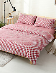Red plaid Washed Cotton Bedding Sets Queen King Size Bedlinens 4pcs Duvet Cover Set