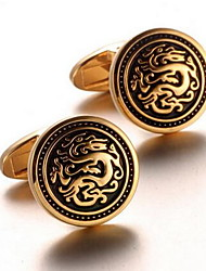 Men's Fashion Dragon Print Gold Alloy French Shirt Cufflinks (1-Pair) Christmas Gifts