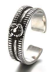 Antique Silver Vintage Style Zircon Open Band Midi Ring for Men/Women Jewelry