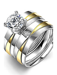 New Individual Gold-Silver Stripes White Zircon Gold-Plated Titanium Steel Statement Rings(Gold-Silver)(1Set)