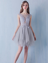 Short / Mini Lace / Tulle Bridesmaid Dress - Ball Gown Jewel with Lace