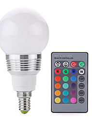 3W E14 Lampadine globo LED A60(A19) 1 COB 240LM lm Colori primari Controllo a distanza / Decorativo / Intensità regolabile AC 85-265 V1