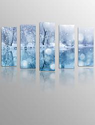 flor de neve na madeira lona moldada 5 painéis prontos para pendurar para a decoração viva