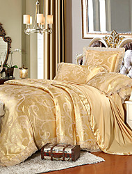 Beige Queen King Size Bedding Set Luxury Silk Cotton Blend Lace Duvet Cover Sets Jacquard Pattern