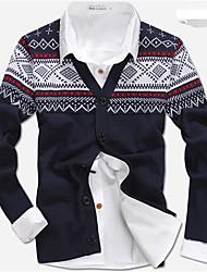 Men's Casual/Daily Regular Cardigan,Plaid Long Sleeve Cotton