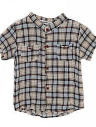 Polyester-Zomer-Boy's-Overhemd-Gestreept
