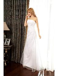 2017, uma linha de vestido de casamento varrer / escova de trem de organza strapless com apliques / beading