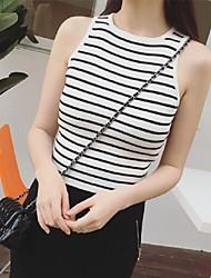 Women's Striped Pink / White Vest,Street chic Sleeveless