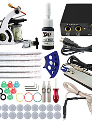 Professional Complete 1 Gun Tattoo Machine Kit 1PCS Ink Power Supply Needle Grips Tips