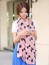 Spring And Summer Pink Bow Printing Chiffon Scarves