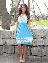 Women's Patchwork / Lace Blue Dress , Lace Round Neck Sleeveless