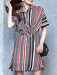 Women's Going out Simple Loose Dress,Striped Shirt Collar Above Knee Short Sleeve Black Polyester Summer