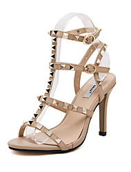 Women's Shoes Leatherette Stiletto Heel Open Toe Sandals Dress Black / White / Almond
