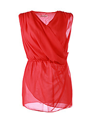 Women's Pink/Red Blouse Sleeveless