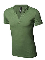 Herren T-shirt-Einfarbig Freizeit / Sport Baumwolle Kurz-Schwarz / Blau / Grün / Rosa / Weiß / Gelb
