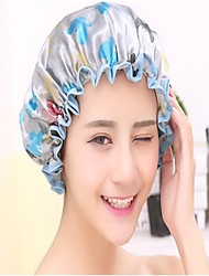 Colorful Printed Soft Satin Fabric Shower Caps Waterproof Spa Bath Elastic Hat Cap  Household For Women
