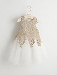 Girl's Gold / White Dress,Print Rayon Summer / Spring