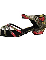 Chaussures de danse(Noir / Marron / Multicolore) -Non Personnalisables-Talon Bas-Satin / Similicuir-Latine