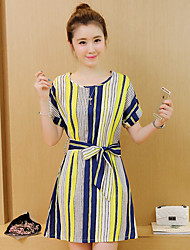Women's Work Simple A Line Dress,Striped Round Neck Above Knee Short Sleeve Blue / Yellow Polyester Summer
