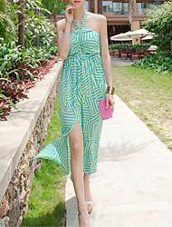 SINCE THEN Women's Sexy / Boho Striped Shift Dress,Halter Maxi Polyester