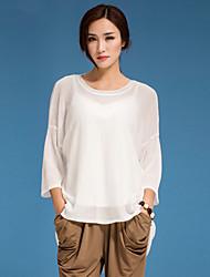 Damen Solide T-shirt - Polyester ¾-Arm Rundhalsausschnitt
