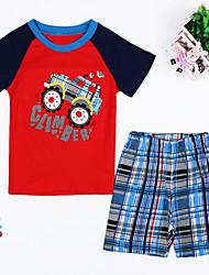 Boy's  Cotton Summer Car Cartoon Printing Leisure Homewear Two-piece
