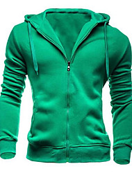 Men's Long Sleeve Hoodie & Sweatshirt,Cotton / Polyester Solid
