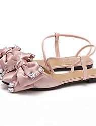 Calçados Femininos-Sandálias-Bico Fino-Rasteiro-Preto / Verde / Rosa-Seda-Social