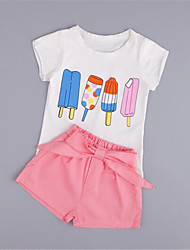 Girl's Pink Clothing Set,Print Cotton Summer