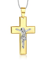 Men's Pendant Necklaces Pendants Stainless Steel Titanium Steel Cross Cross Simple Style Gold Jewelry Daily Casual 1pc