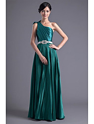 Floor-length Stretch Satin Bridesmaid Dress A-line One Shoulder