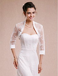Women's Wrap Shrugs 3/4-Length Sleeve Lace Ivory Wedding Party/Evening Lace