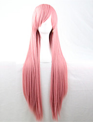 Europe And The United States The New Color Wig 80 CM Wide Smoke Pink Long Straight Hair Wig