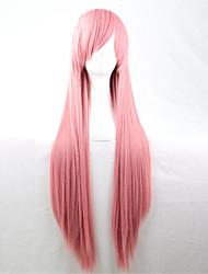 europe et les etats-unis la nouvelle perruque de couleur 80 cm de large à long fumée rose perruque de cheveux raides