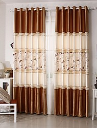 Two Panels Butterfly Pattern European Patchwork Polyester Panel Curtains Drapes