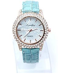 Women's Dress Watch Fashion Watch Simulated Diamond Watch Casual Watch Imitation Diamond Quartz Leather Band Heart shapeBlack White Blue