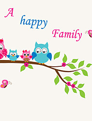 Owl a Happy Family Wall Stickers Environmental Colorful Flower Tree PVC Wall Decals
