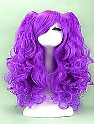 2 colores cosplay peluca larga de calor pelo sintético cosplays resistentes pelucas rizadas del partido