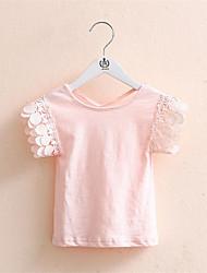 Menina de Camiseta,Casual Patchwork Algodão Verão Rosa / Amarelo / Cinza