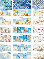 1pcs Include 12 Styles Nail Art Water Transfer Stickers Vivid Shell Sea Star Design BN157-168