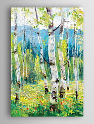 Hand Painted Oil Painting Landscape Light Green Trees with Stretched Frame 7 Wall Arts®