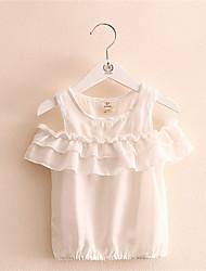 Brand New Retro Chest Jacquard Short-Sleeved Shirts Blouses For 2-6T Girls Kids Clothing