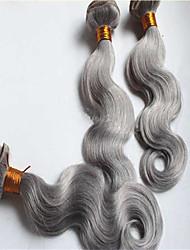 3pcs / del pelo humano de la onda brasileña gris cuerpo de la trama del pelo virginal plata montón barato teje 100g / pc 8-34inches