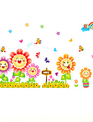 Smile Sunflowers Fence Cartoon Wall Stickers Fashion Kindergarten Kids Room Wall Decals