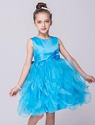 A-line Knee-length Flower Girl Dress - Organza / Satin Sleeveless Jewel with
