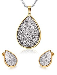 Women's Rhinestone Drop Style Gold Plated Necklace Earrings Jewelry Set